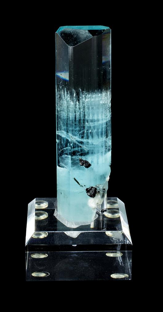 Aquamarine, Shigar Valley, Gilgit, Pakistan; 98 grams, ex Schertz collection. Est. $25,000-$30,000. Morphy Auctions image