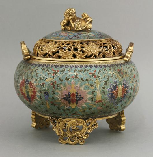 Fine cloisonné incense burner and cover, 18th century, 17.5cm. Estimate: £5,000-£7,000. Sworders image