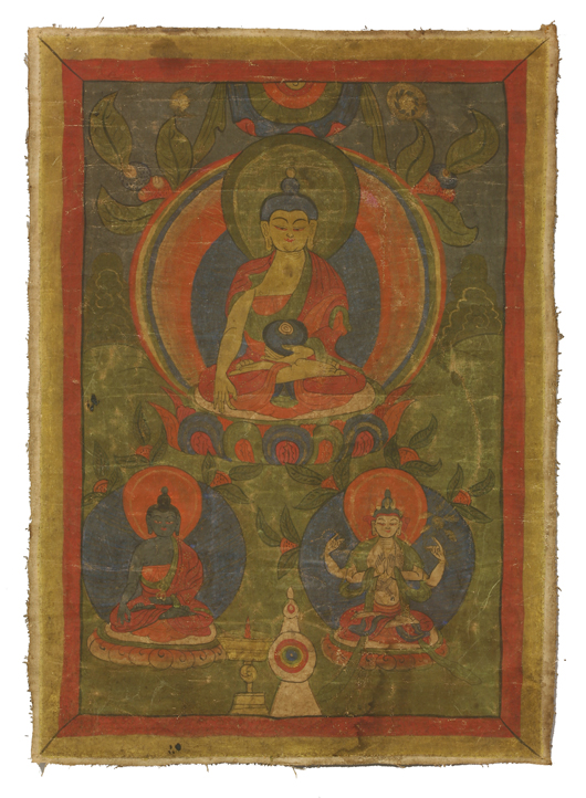 Thangka of a seated Buddha holding a begging bowl, early 19th century, 36.5 x 40cm. Estimate: £1,200-£1,500. Sworders image