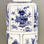 Blue and white rouleau vase, Kangxi, c.1690, 48.7cm. Estimate: £8,000-£12,000. Sworders image