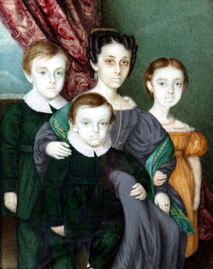 Names attract higher prices. This 19th century Continental School miniature portrait is of Anna Clifton (nee De Veignon), with her children, Frances, William and George. It sold for £560. Photo The Canterbury Auction Galleries