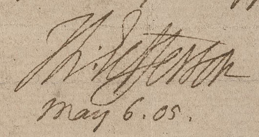 Thomas Jefferson's signature on an 1805 letter. Image courtesy of LiveAuctioneers.com archive and Early American History Auction.