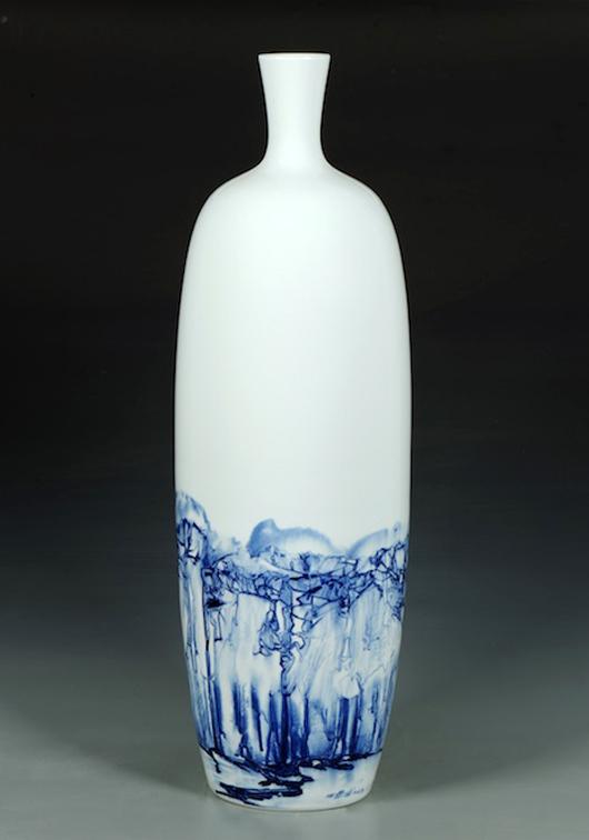 Gan Daofu, The Woods (After Fan Kuan), 2013,  Jingdezhen Porcelain. Image courtesy FitzGerald Fine Arts.