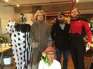 LiveAuctioneers' Halloween scream team, left to right, standing: Andrew Valente, Jonathan Harford, Torr Duer, Karl Hohn. Foreground: Eddie Fu. Photo by Erwin Hungerbuhler