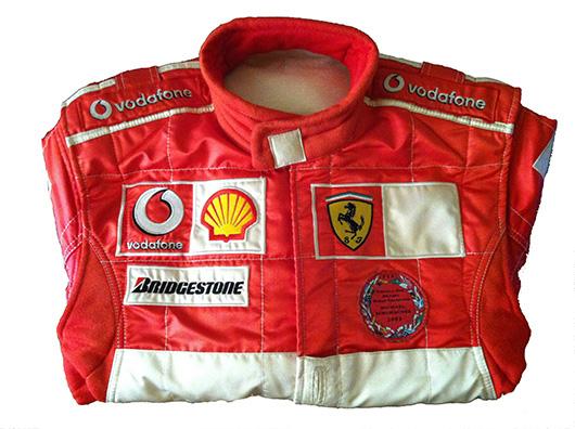 Michael Schumacher's driving suit. Courtesy Cambi, Genoa