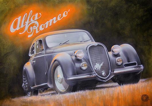 JR, Airbrush painting of Alfa Romeo Tipo 8C 2900B Berlinetta Touring 1938, 100x70 cm. Courtesy Cambi, Genoa