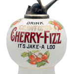 Cherry-Fizz was a drink made from soda water and cherry-flavored syrup. Although the first soda fountains opened in the United States in the early 1800s, they were most popular in the 1940s and 1950s. This Cherry-Fizz dispenser sold for $19,200 at a 2014 Morphy auction held in Denver, Pa.