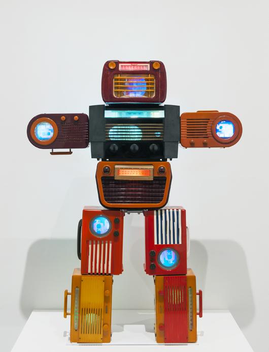 Nam June Paik, 'Bakelite Robot, 2002,' incorporating video, 5 monitors, Bakelite radios. Size 120 x 92.1 x 19.7cm. Image provided by Tate Modern