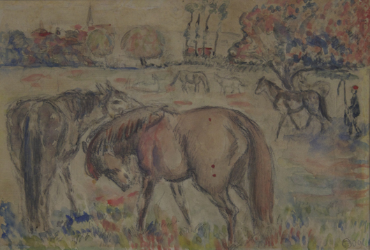 Orovida Pissarro (1893-1968), 'Horses in a Field.' Watercolor, tempera, charcoal and pencil on paper, 5 ½ x 7 ⅞ inches (14 x 20 cm), framed 13 ⅜ x 15 ½ inches (34 x 39.5 cm). Signed with monogram lower right. Dated 09 lower right. Image courtesy Stern Pissarro Gallery