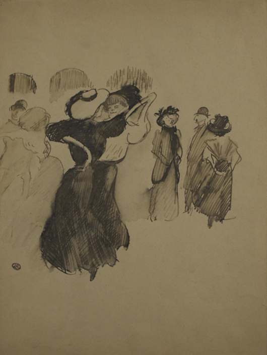 Ludovic-Rodo Pissarro (1878-1952), 'Les Élégantes au Bal.' Inkwash on paper, 12 ½ x 9 ⅜ inches (31.6 x 23.7 cm), framed 21 ½ x 18 ⅝ inches (54.7 x 47.4 cm). Signed with estate stamped monogram lower left. Executed circa 1905. Image courtesy Stern Pissarro Gallery