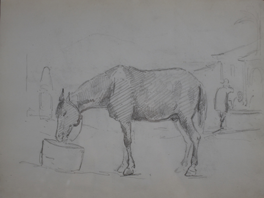 Camille Pissarro (1830-1903), 'A Horse Drinking From a Bucket with Figures in the Background.' Black lead and ink on paper, 7 ⅞ x 10 ⅜ inches (20 x 26.5 cm), framed 15 ⅛ x 17 ¾ inches (38.5 x 45.1 cm). Executed in Venezuela circa 1852-1854. Image courtesy Stern Pissarro Gallery