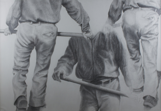 Yvon Vey-Pissarro (b. 1937-), 'Farmhands,' Pierre noire on paper, 29 ¼ x 42 ⅜ inches (74.3 x 107.7 cm), framed 33 ⅞ x 46 ⅞ inches (86 x 119 cm). Signed Yvon Vey between the handle and the trousers of the lower right man. Executed 1982. Image courtesy Stern Pissarro Gallery