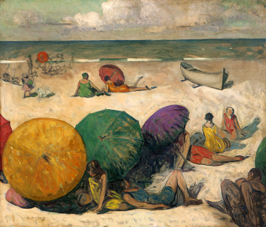 This beach scene by Maurice Molarsky (1885–1950 Philadelphia) did quite well at Moran's Oct. 21 auction, bringing $5,700, surpassing the estimated $3,000 to $4,000. John Moran Auctioneers image