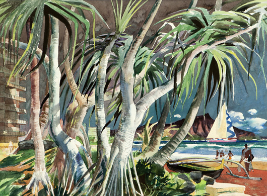 Millard Sheets's (1907-1989 Gualala, Calif.) watercolor depiction of Diamond Head, Hawaii, was a desirable lot. The work was estimated to earn $8,000 to $12,000, and shot past the estimate to sell for $42,000. John Moran Auctioneers image
