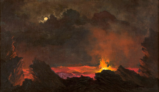 The second Hawaii-based painting to exceed expectations was a volcano nocturne by Jules Tavernier (1844-1899 San Francisco), which sold for an impressive $24,000 (estimate: $8,000 to $12,000). John Moran Auctioneers image