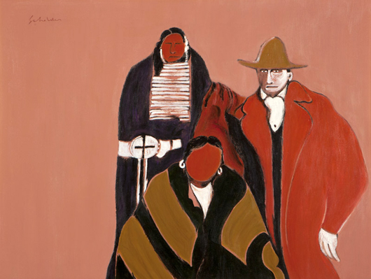 Estimated to bring $4,000 to $6,000, this work by Fritz Scholder (1937-2005 Scottsdale, Calif.) brought $10,667.50. John Moran Auctioneers image