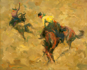 Buyers were especially attracted to Western genre works, such as this piece by Armin Carl Hansen (1886-1957 Monterey, Calif.), which fetched $102,000 (estimate: $40,000 to $60,000). John Moran Auctioneers image