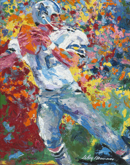 This portrait of Dallas Cowboys quarterback Roger Staubach by Leroy Neiman (1921-2012 New York) went for $26,500 (estimate: $20,000 to $30,000). John Moran Auctioneers image