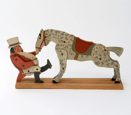 "Called ""Sonntagsreiter"" (Sunday Rider), this wooden toy circa 1904 comes with a separate paper that depicts the rider in different positions. Richard Riemerschmid, Dresdener Werkstätten. Estimate €800 to €1,200 – $1,020 to $1,530. Photo courtesy Quittenbaum Kunstauktionen GmbH."