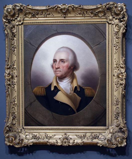 One of the paintings donated was a Rembrandt Peale (American, 1778- 1860) portrait of George Washington, c. 1845; oil on canvas; Saint Louis Art Museum, Bequest of Edith J. and C.C. Johnson Spink