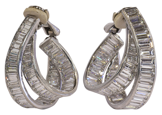 The jewelry highlight is this pair of diamond and platinum hoop earrings by G. Arzilli, Italy, set with rectangular step cut diamonds totaling approximately 36.50 carats. Estimate: $20,000 to $40,000. Clars Auction Gallery image