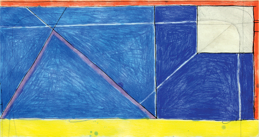 Richard Diebenkorn's  (1922-1993) 'Red-Yellow-Blue,' color etching with aquatint and drypoint from 1986 will be a highlight of the modern works offered. (Estimate: $40,000 to $60,000).  Clars Auction Gallery image