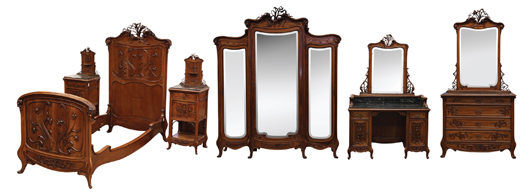 This impressive Emile Galle bedroom suite is estimated to achieve $30,000 to $50,000. Clars Auction Gallery image