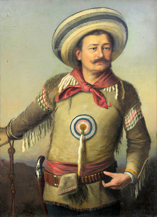 In the American 20th century portrait category, this large painting by Henry François Farny (1847-1916) titled, 'Self Portrait in Mexican Cowboy Attire (1894),' is estimated at $60,000 to 80,000. Clars Auction Gallery image