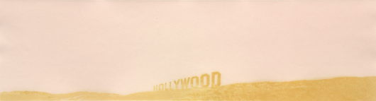 From Ed Ruscha (b. 1937) will be his iconic 'Pepto-Caviar Hollywood,' which is being offered for $20,000 to $30,000. Clars Auction Gallery image