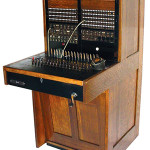 This telephone switchboard made by the Stromberg-Carlson Telephone Manufacturing Co. in the 1920s features a quartersawn oak case. Image courtesy of LiveAuctioneers.com archive and Rich Penn Auctions.