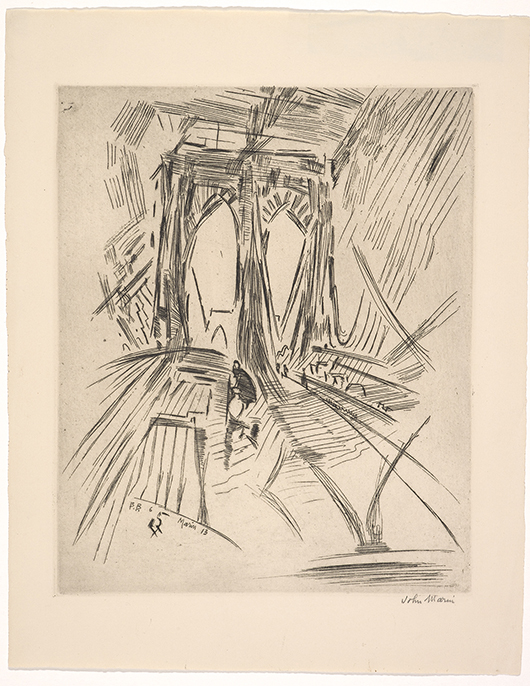 John Marin (American, 1870–1953), 'Brooklyn Bridge, No. 6 (Swaying),' 1913, etching on ivory woven paper, 13-3/4 x 10-7/8 in. Indianapolis Museum of Art, Gift of Joan and Walter Wolf, 2008.799. © Estate of John Marin / Artists Rights Society (ARS), New York
