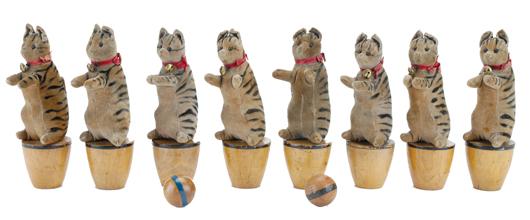 Steiff 8-piece cat skittles set, 8in tall, est. $3,000-$4,000. Noel Barrett image