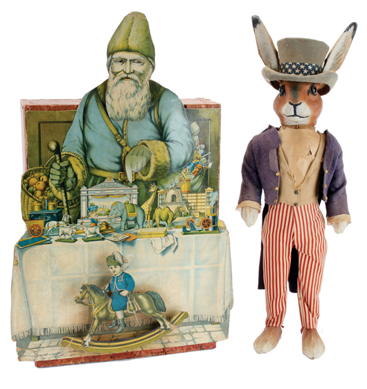 Animated Santa in toyshop window display, 24in tall, est. $1,500-$2,000; and patriotic rabbit candy container, 24in tall, cloth dressed over papier-mache, est. $2,000-$2,500. Noel Barrett image