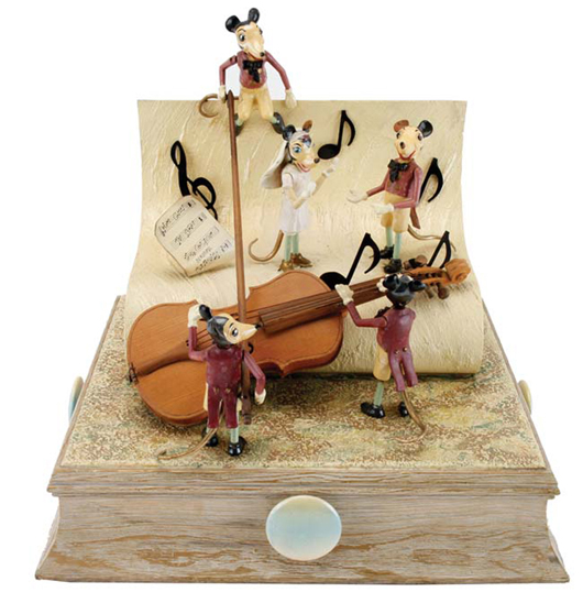 Barranger Studios wedding-theme musical motion display with mouse musicians, bride and groom, issued 1953, est. $4,000-$6,000. Noel Barrett image
