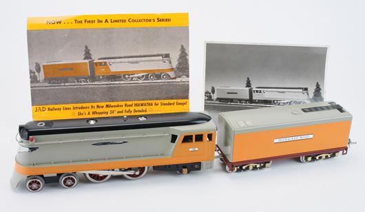 JAD Lines Hiawatha loco/tender, standard gauge, #245 of 250, est. $700-$800. Noel Barrett image