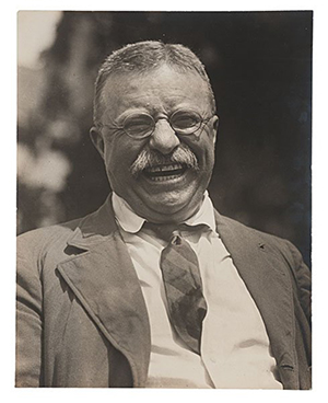When Theodore Roosevelt announced that he would run for president against William H. Taft, his former vice president, in 1912, Brown Brothers received the assignment to take new photographs. Owner Arthur Brown sent top photographer Charles Duprez to Oyster Bay where he shot this famous photograph, which has a Brown Brothers blindstamp in the lower left corner. Image courtesy of LiveAuctioneers.com archive and Cowan's Auctions