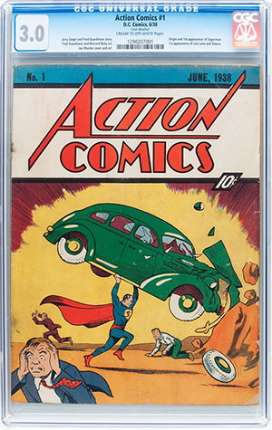 Unrestored copy of 'Action Comics #1' (DC, 1938), which marks the first appearance of Superman. Heritage Auctions image.