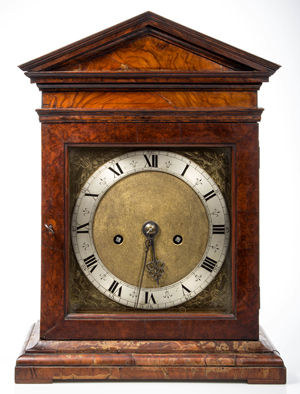 Rare signed Samuel Betts (London, active 1645-1673) bracket clock, circa 1660, with engraved brass dial and backplate. Housed in an early case with label and tag inside door from Percy Webster, a noted antiquarian and clock dealer in London during the early 20th century. Jeffrey S. Evans & Associates image