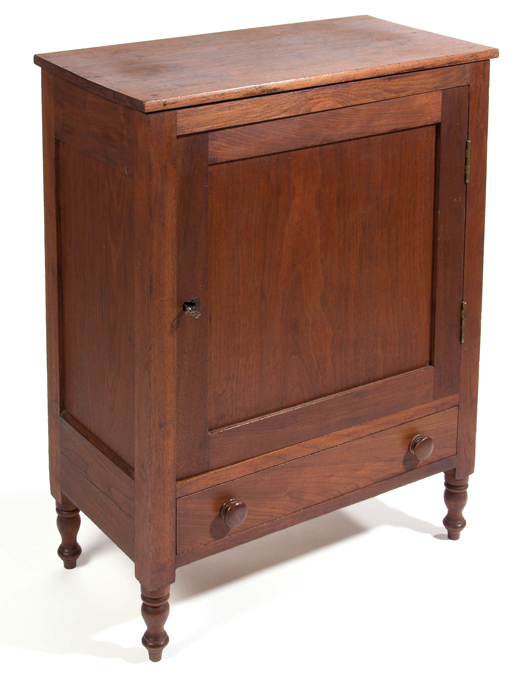Fine and rare Shenandoah Valley of Virginia late Federal walnut spice/valuables cabinet, circa 1820, with fitted interior. Descended in the Grim family of Augusta County, Virginia,  28 1/2 in. high, 21 2/4 in. wide, 11 in. diameter. Jeffrey S. Evans & Associates image