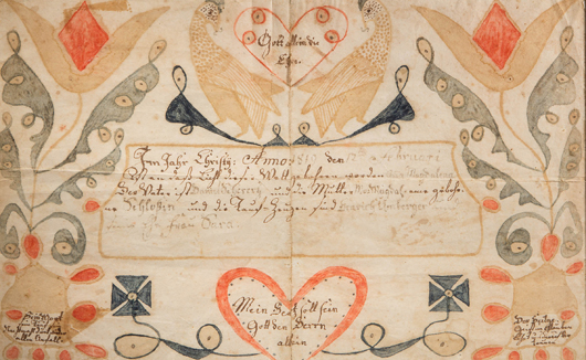 Wythe County, Virginia, folk art watercolor and ink on paper fraktur birth record, circa 1819, attributed to the Wild Turkey artist, excellent condition, 7 3/4 inches by 12 1/2 inches. Jeffrey S. Evans & Associates image