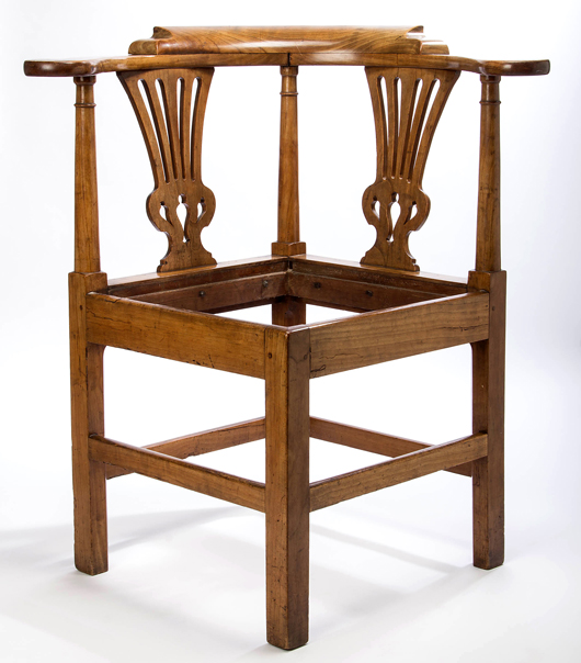 Rare Petersburg, Virginia, Chippendale cherry smoking/corner chair, circa 1765. Property of a Virginia woman. Jeffrey S. Evans & Associates image