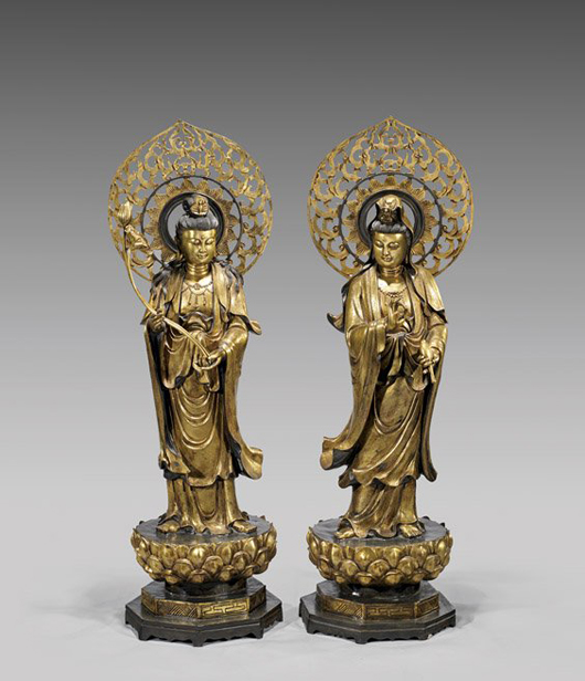 Pair of Chinese gilt bronze Guanyin figures, 49 1/2 inches each. Estimates: $15,000–$20,000. I.M. Chait Gallery / Auctioneers image.