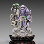 Fine Chinese lavender jadeite Guanyin group, 18 3/4 inches high. Estimate: $15,000–$25,000. I.M. Chait Gallery / Auctioneers image.
