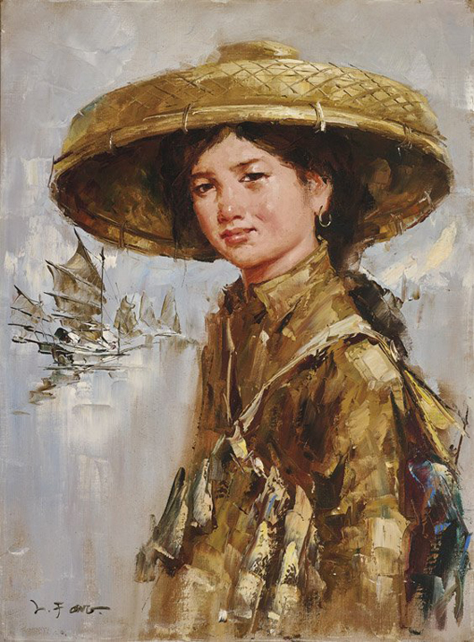 Oil portrait painting by Lee Man Fong (Indonesian-Chinese 1913-1988), oil on board, 23 1/2 in. x 17 1/2 in., framed. Estimate: $25,000–$35,000. I.M. Chait Gallery / Auctioneers image.