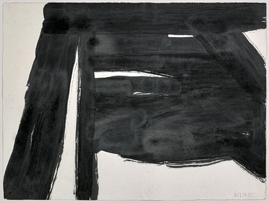 Study by Franz Kline (American, 1910–1962), untitled 1956 ink on paper, 9 3/4 in. x 12 3/4 in., framed. Estimate: $30,000–$50,000. I.M. Chait Gallery / Auctioneers image.