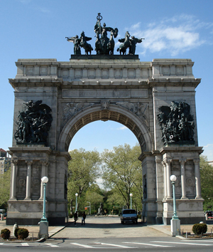 The Soldiers and Sailors Memorial Arch at Grand Army Plaza, Brooklyn. Copyright 2007 Jeffrey O. Gustafson. This file is licensed under the Creative Commons Attribution-ShareAlike 3.0 Unported license.