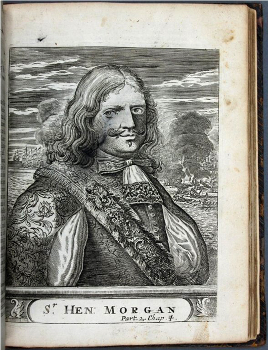 A 1684 second-edition copy of 'Bucaniers (sic) of America' containing one of only two known engravings of Captain Morgan (shown), est. $2,000-$3,000. Waverly Rare Books image.