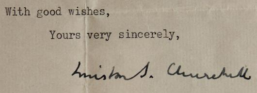 Letter typewritten and hand-signed by Winston Churchill to Mr. Eric Stokkebye of Stokkebye Tobacco, est. $600-$900. Waverly Rare Books image.