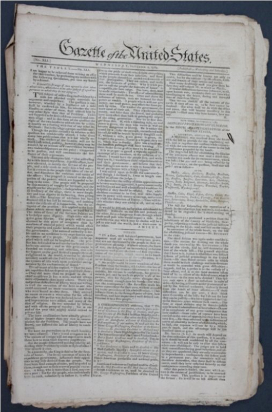 Trove of 121 issues of the bi-weekly 'Gazette of the United States' from 1789-1790, est. $8,000-$12,000. Waverly Rare Books image.