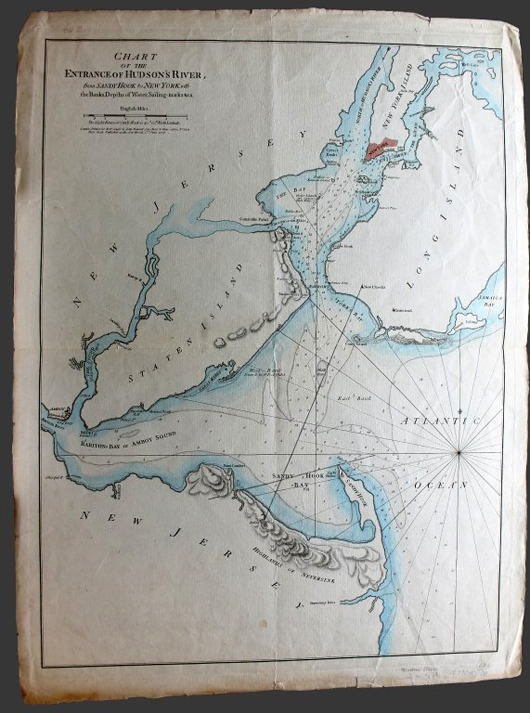 1776 chart of the entrance of the Hudson River, then known as Hudson's River, est. $3,000-$5,000. Waverly Rare Books image.